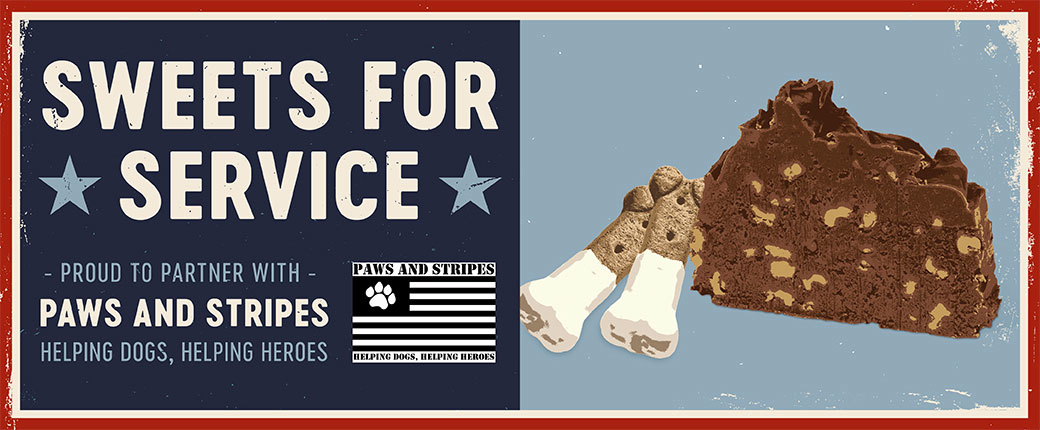 Support our troops and first responders by buying fudge and we will donate a matching amount.
