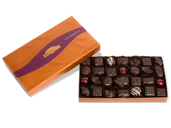 Assorted Dark Chocolate Gift Box 14.5 oz.,dark chocolate candy
